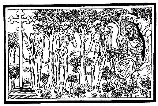 dit des trois morts et des trois vifs, Bois gravé XV ème siècle?