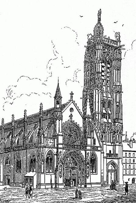 """Saint Jacques de la Boucherie. En """"C"""" le tympan de Flamel"""