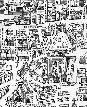 Halles, boucherie de Beauvais et  cimetière des Innocents